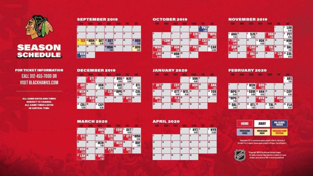 Blackhawks 2020 Schedule Cue The Dagger: Blackhawks Release 2019 2020 Schedule – On Tap